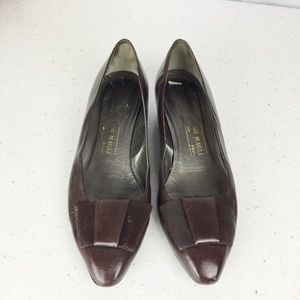 3/$25 Vintage Bruno Magli low heel bow brown